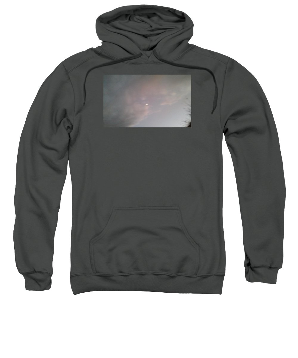 Fluffy Chilling Clouds Seemingly Sweatshirt featuring the photograph Covered Moon by Sonja Nichols