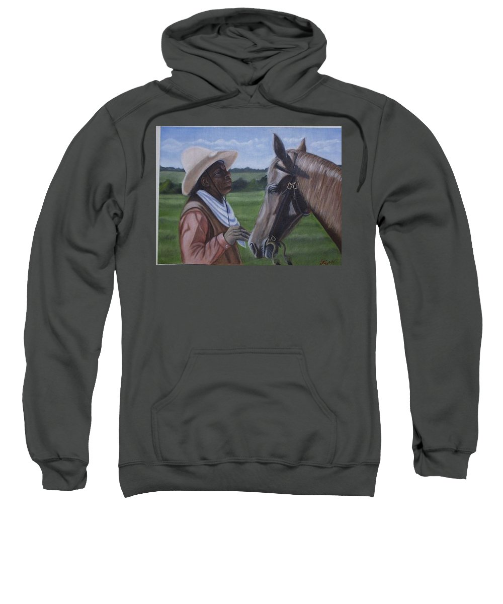 Portrait Sweatshirt featuring the painting Cowboy2 by Toni Berry