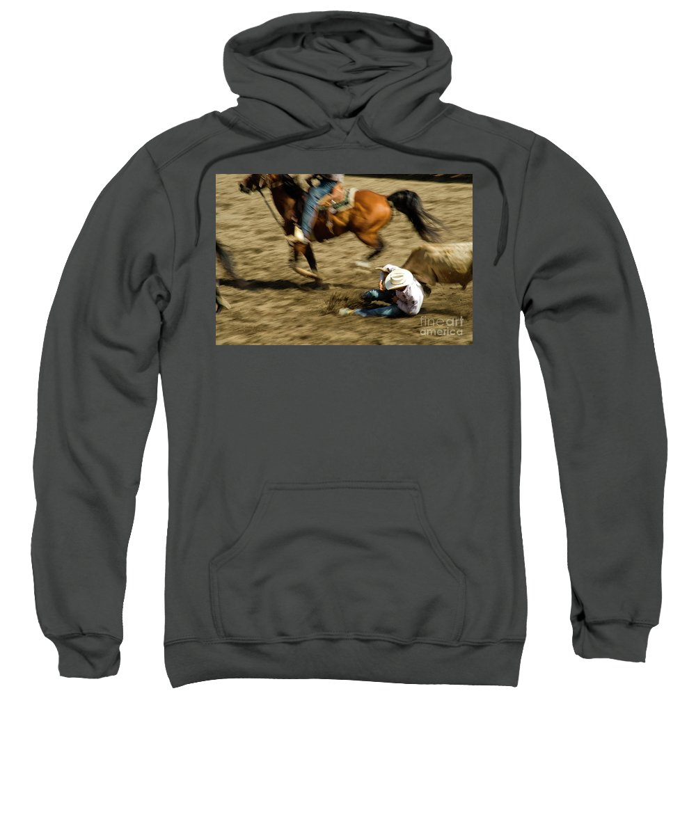 Rodeo Sweatshirt featuring the photograph Cowboy's Grip by Jeanne McGee