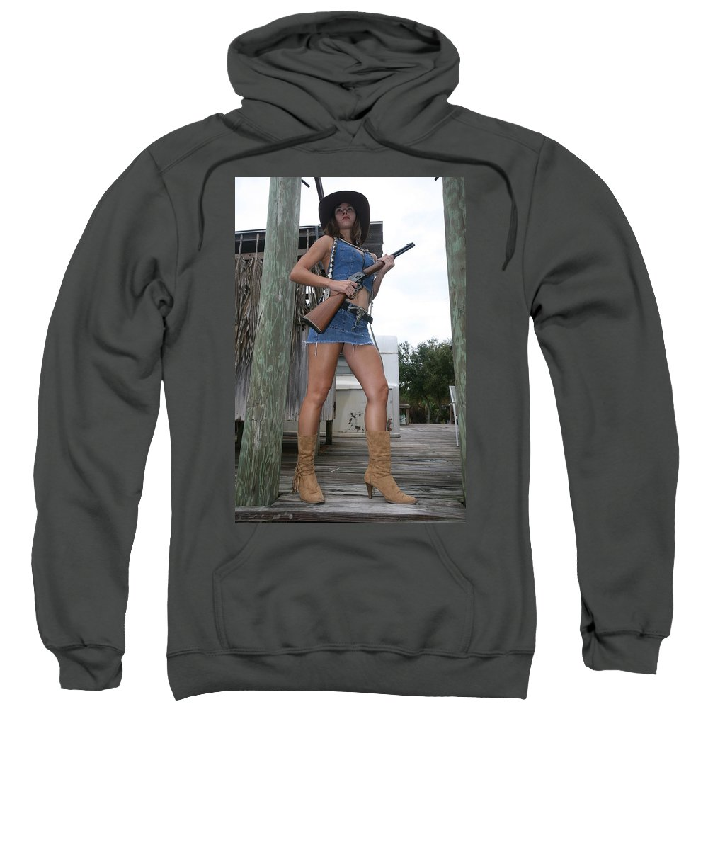 Cowgirl Boots Legs Sexy Glamorous Sweatshirt featuring the photograph Cowgirl 021 by Lucky Cole