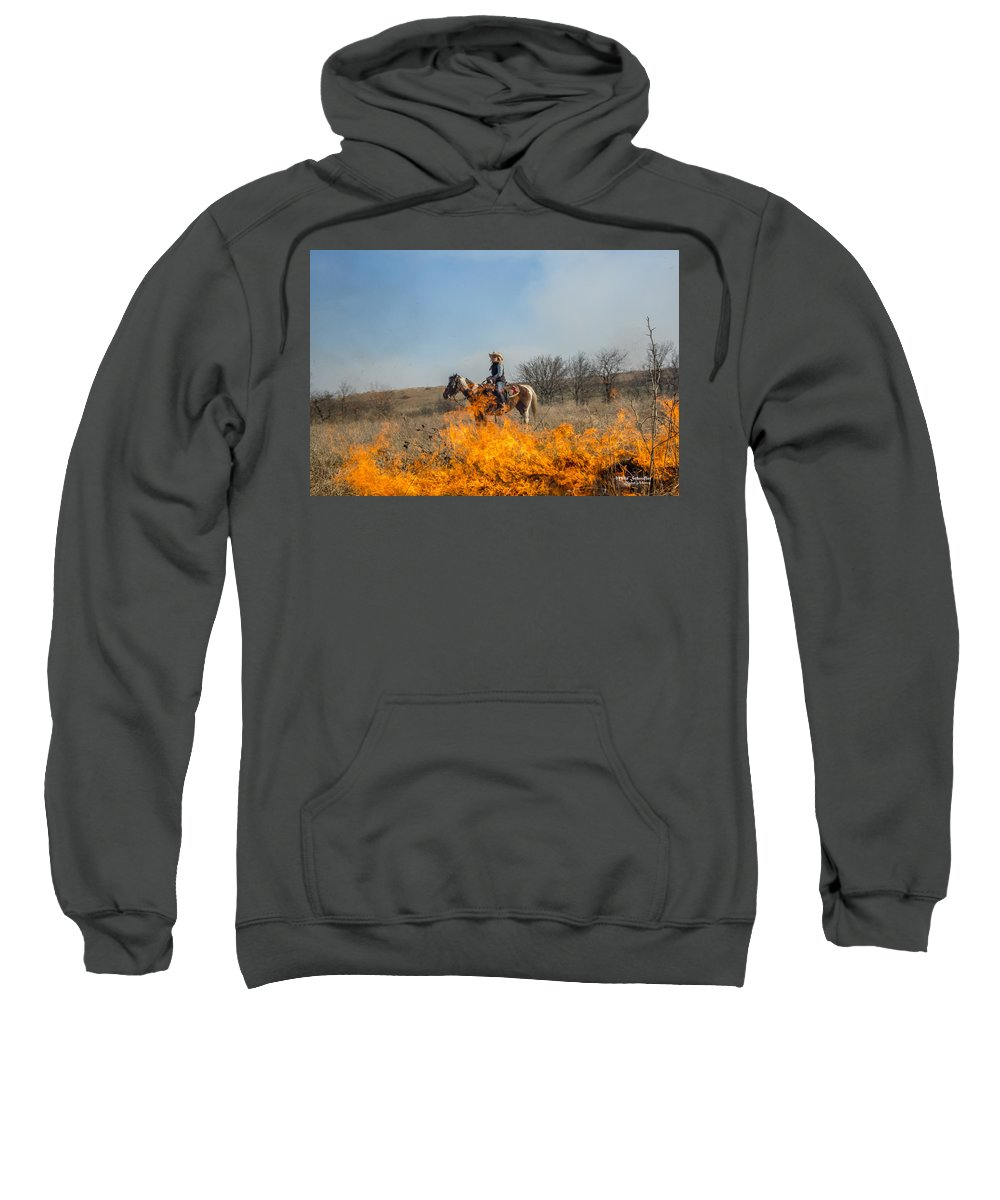 Fire Sweatshirt featuring the photograph Cowgirl Watching Over Burn by Mike Scheufler