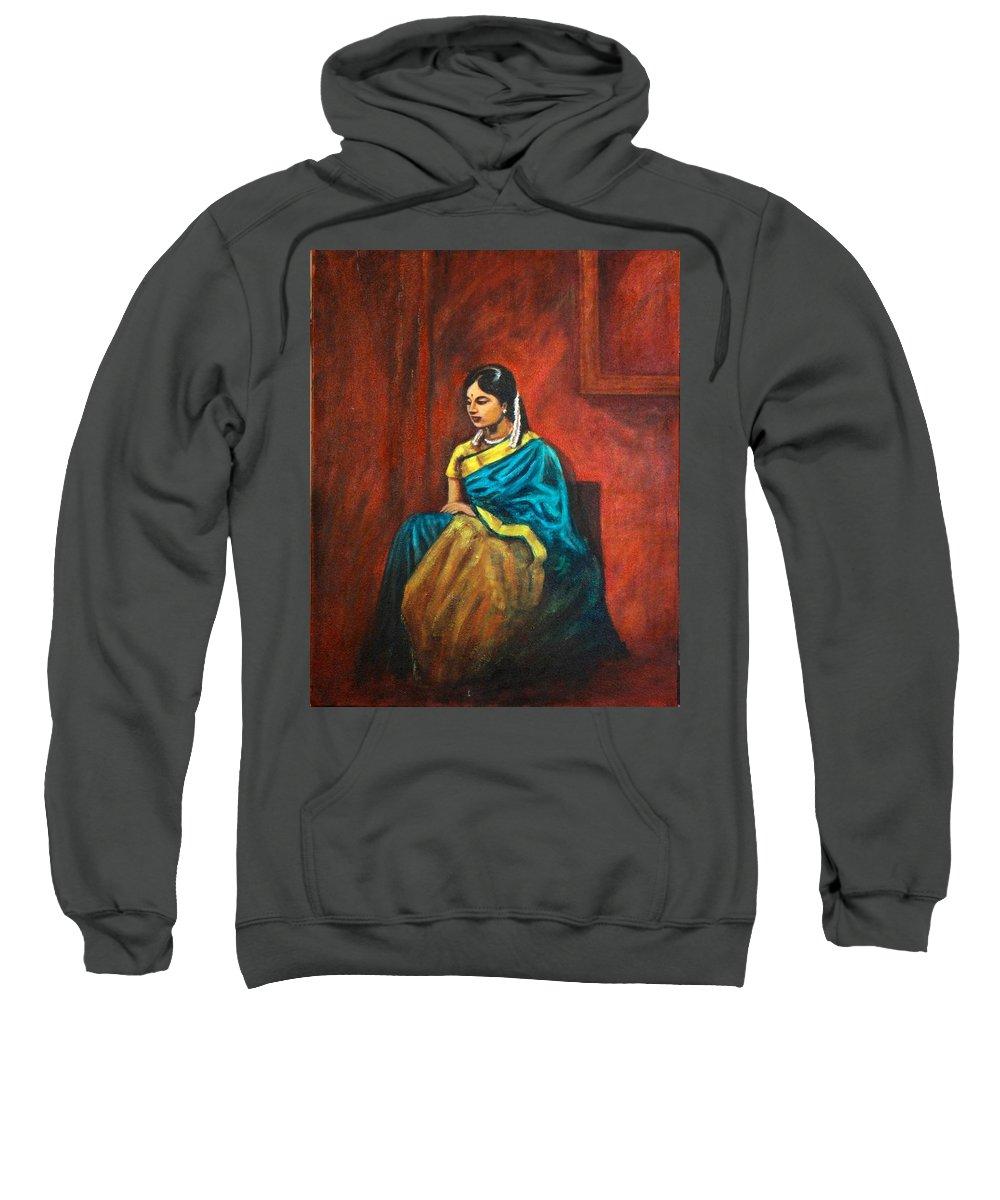 Coy Sweatshirt featuring the painting Coy by Usha Shantharam