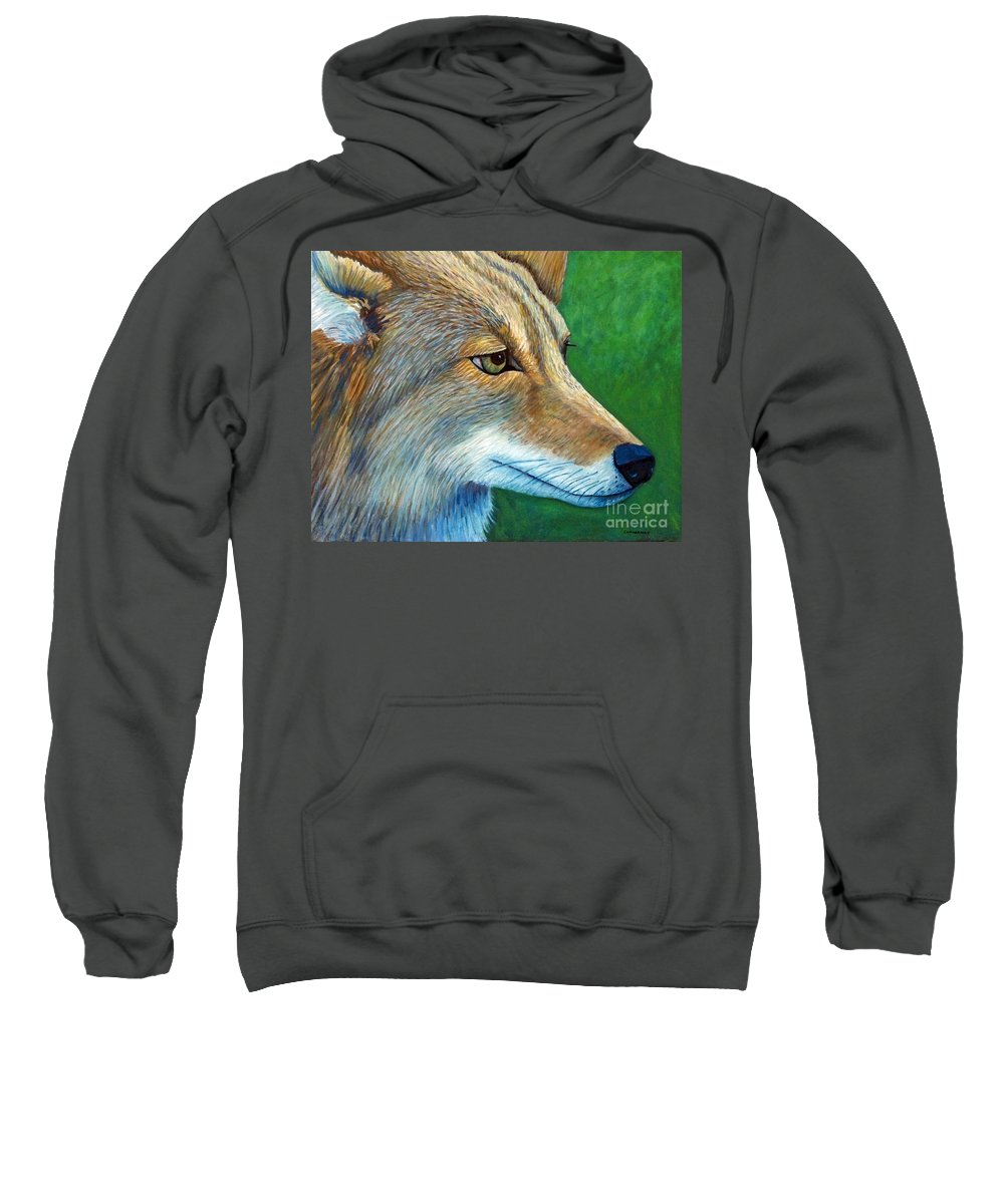 Coyote Sweatshirt featuring the painting Coyote Logic by Brian Commerford
