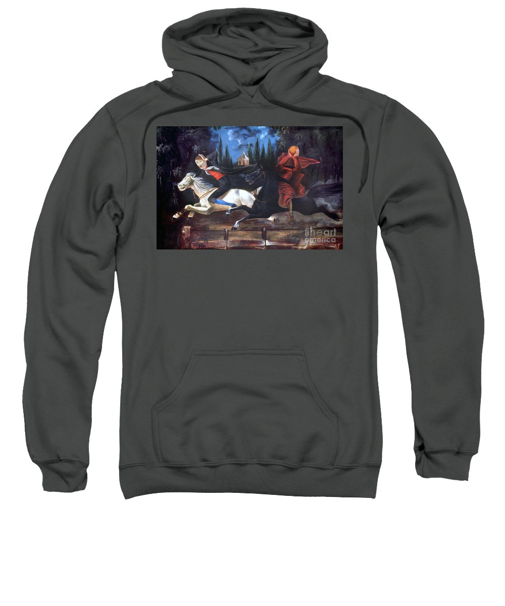 1835 Sweatshirt featuring the photograph Crane And Horseman by Granger