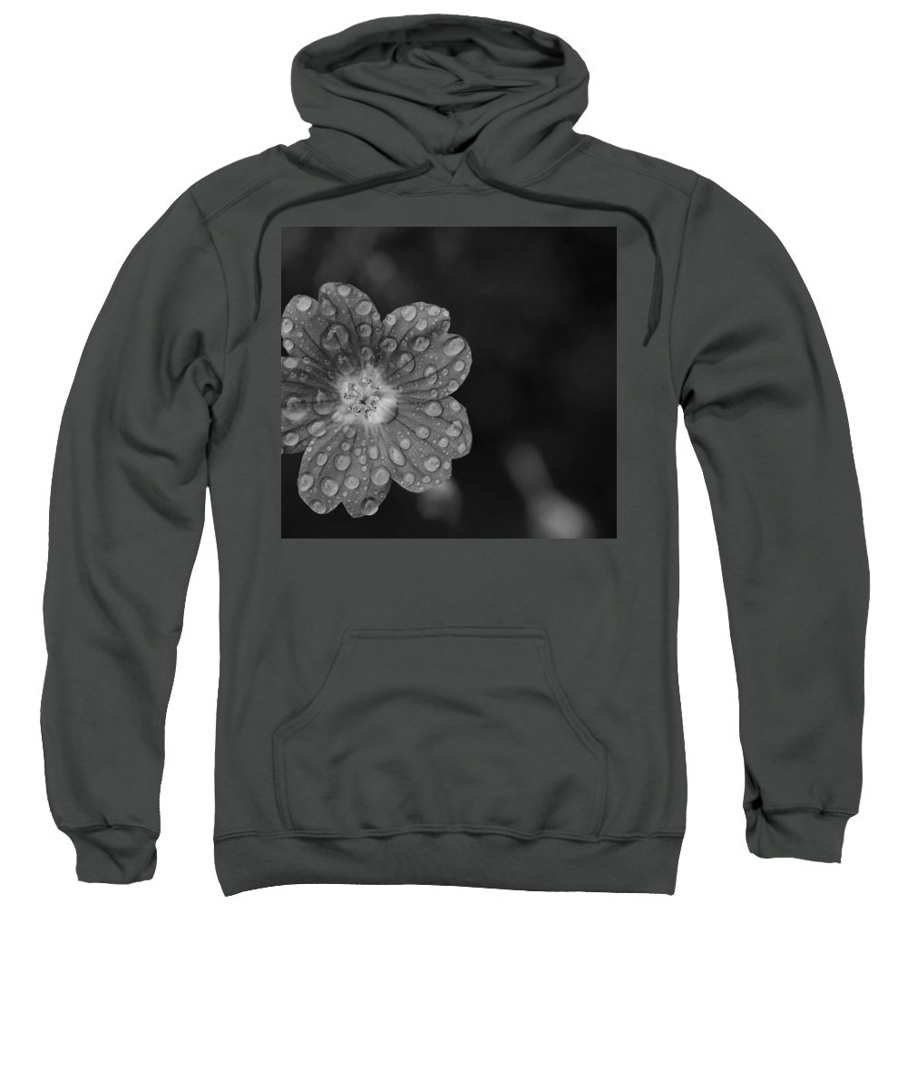 Flower Sweatshirt featuring the photograph Cranesbill Geranium In Black And White by Thomas Morris