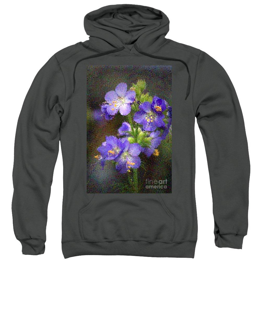 Flowers Sweatshirt featuring the photograph Craquelure On Blue by Deborah Benoit