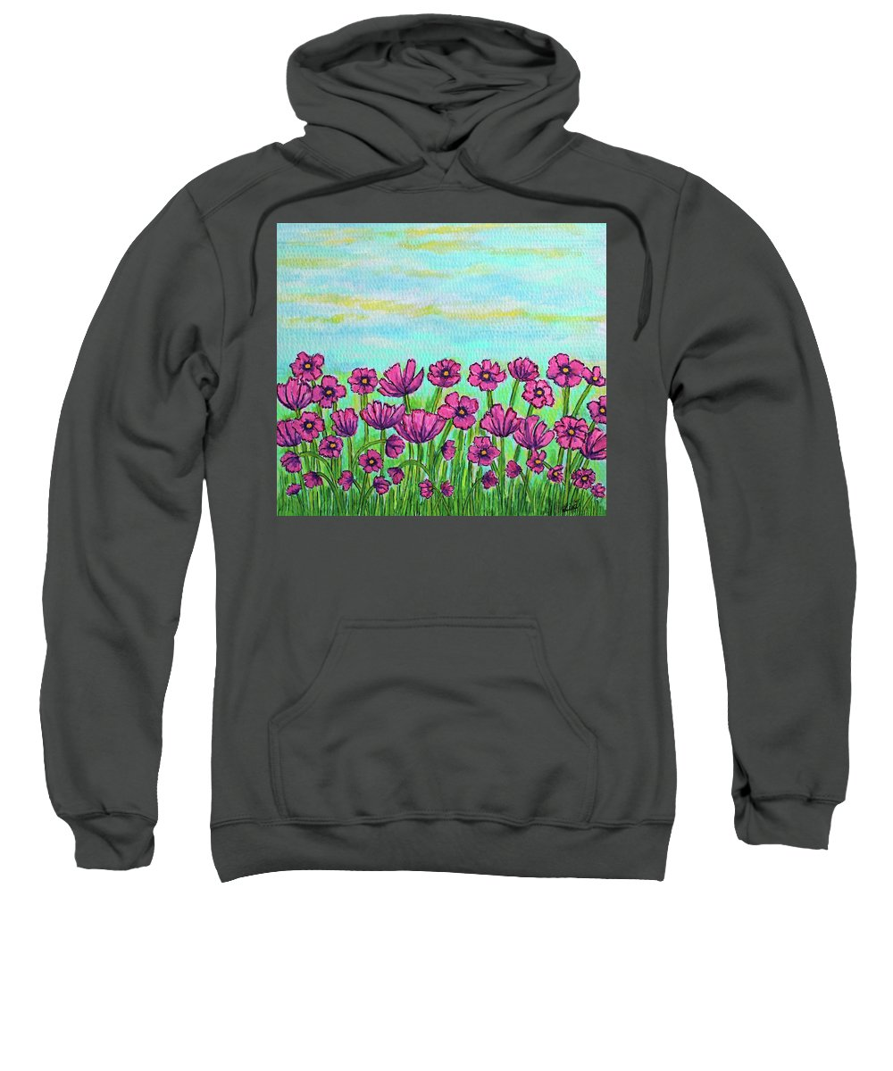 Cosmos Sweatshirt featuring the painting Crazy for Cosmos by Lisa Lorenz