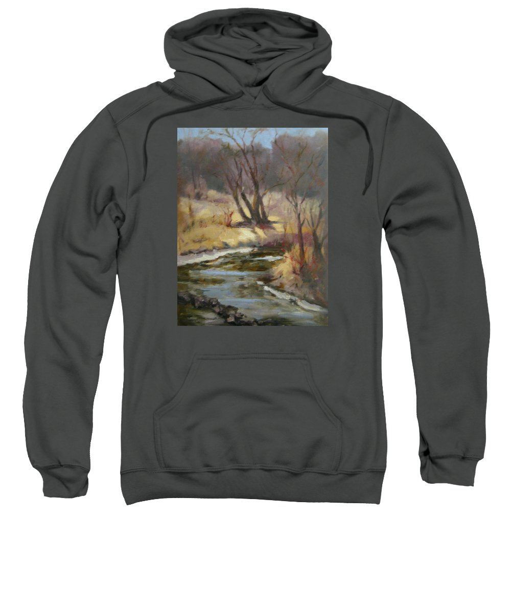 Plein Air Landscape Sweatshirt featuring the painting Credit River by Patricia Kness