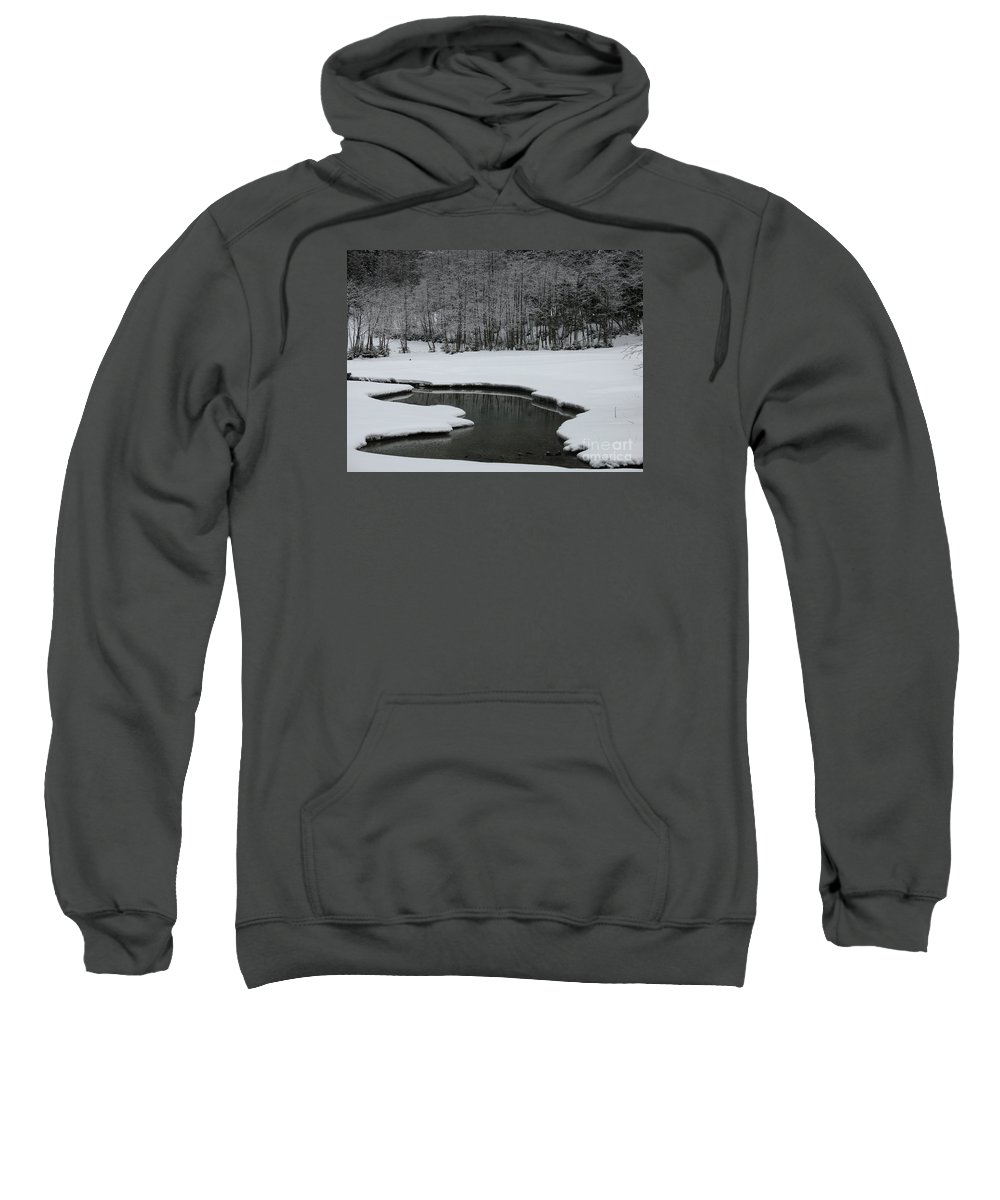 Creek Sweatshirt featuring the photograph Creek In Snowy Landscape by Christiane Schulze Art And Photography