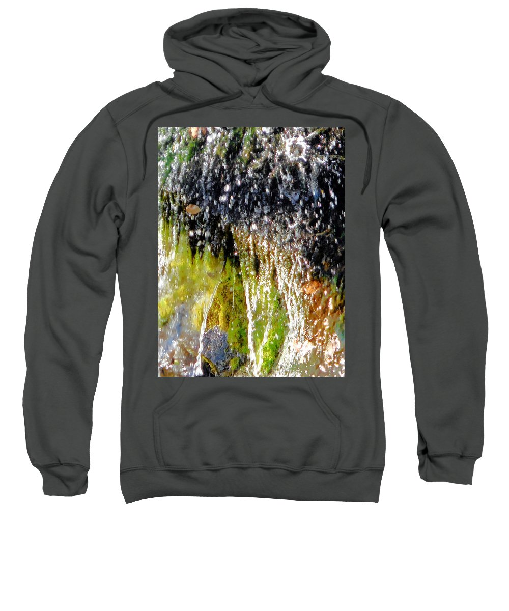 Autumn Sweatshirt featuring the painting Creek Running Through Moss-covered Stones 1 by Jeelan Clark