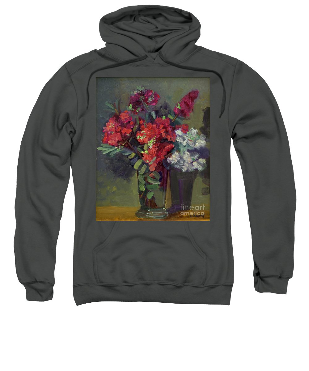 Floral Sweatshirt featuring the painting Crepe Myrtles In Glass by Lilibeth Andre