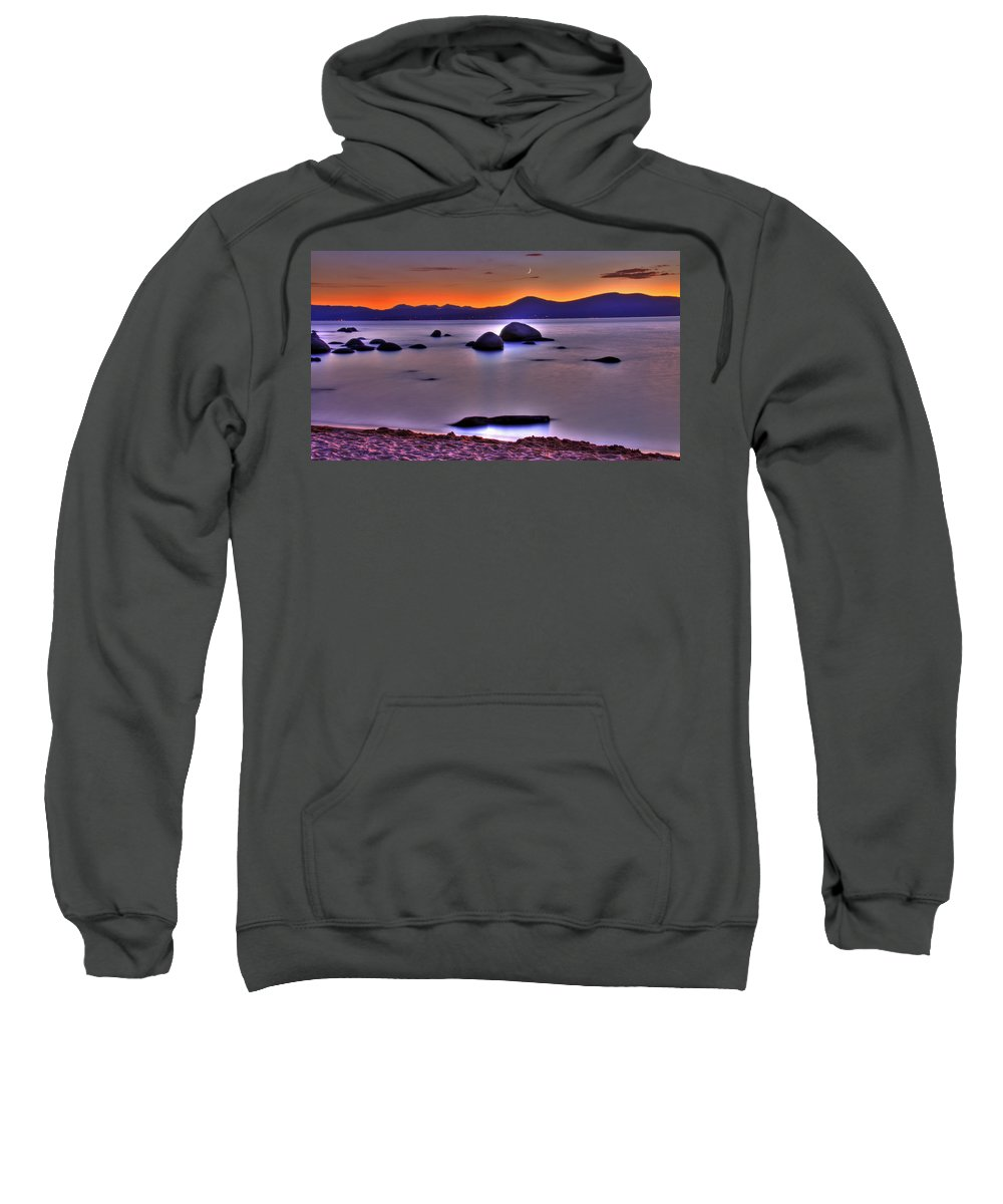 Lake Tahoe Sweatshirt featuring the photograph Crescent Moon Above Tahoe by Scott Mahon