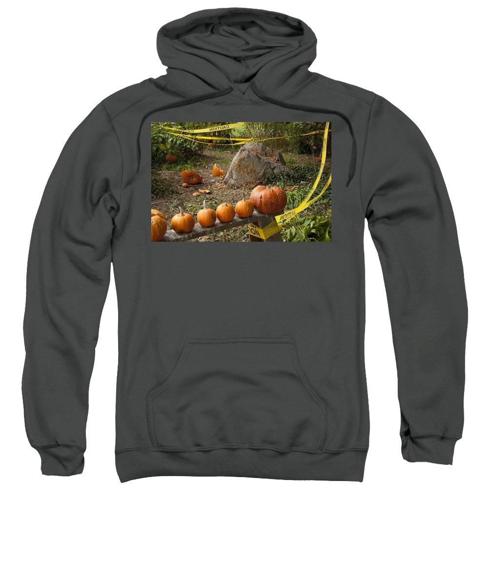 Pumpkin Sweatshirt featuring the photograph Crime Scene by Steven Natanson