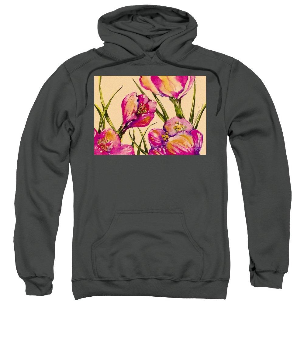 Florals Sweatshirt featuring the painting Crocus by Laurel Adams
