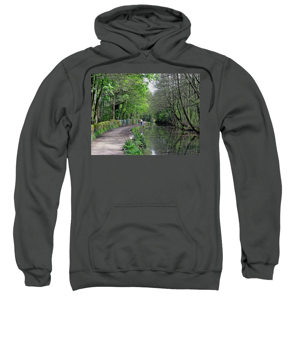 Europe Sweatshirt featuring the photograph Cromford Canal - Tree Lined Walk by Rod Johnson