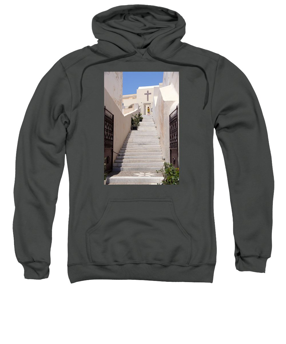 Cross Sweatshirt featuring the photograph Steps To Salvation by Ron Koivisto
