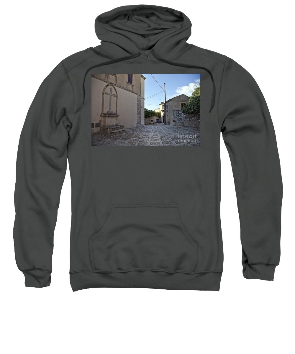 Cross Sweatshirt featuring the photograph Cross Road In Sicily by Madeline Ellis