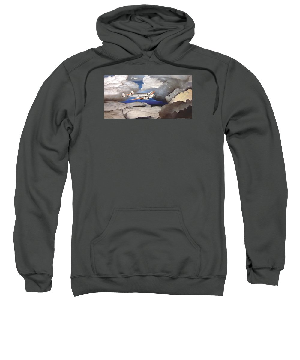 Aviation Sweatshirt featuring the painting Crossing Over Amelia Earharts Final Flight by Marc Stewart