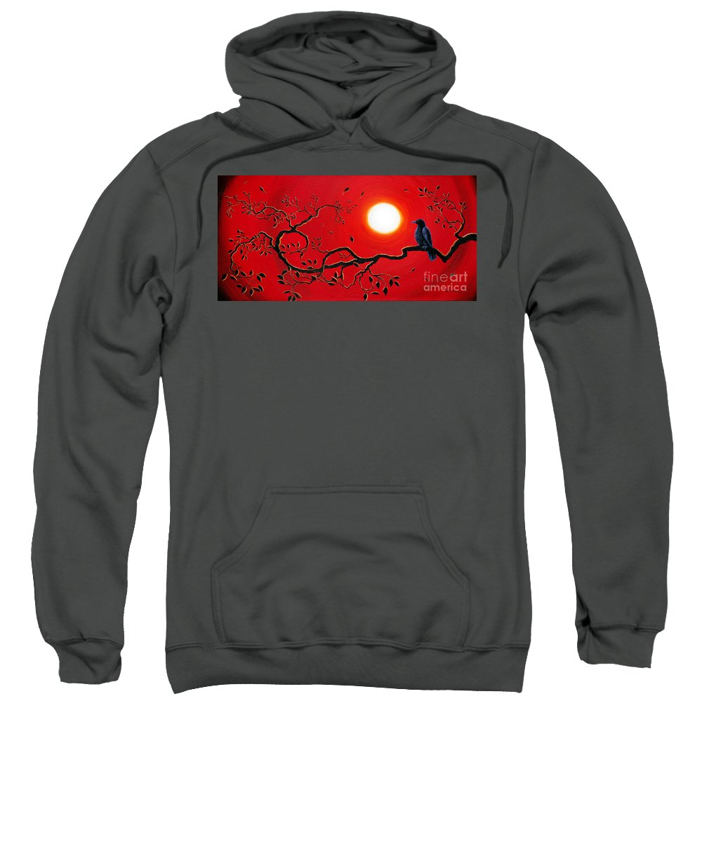 Zen Sweatshirt featuring the painting Crow In Crimson Sunset by Laura Iverson