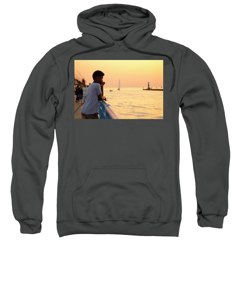 Crowd Sweatshirt featuring the photograph Crowded Canal by Tammy Chesney
