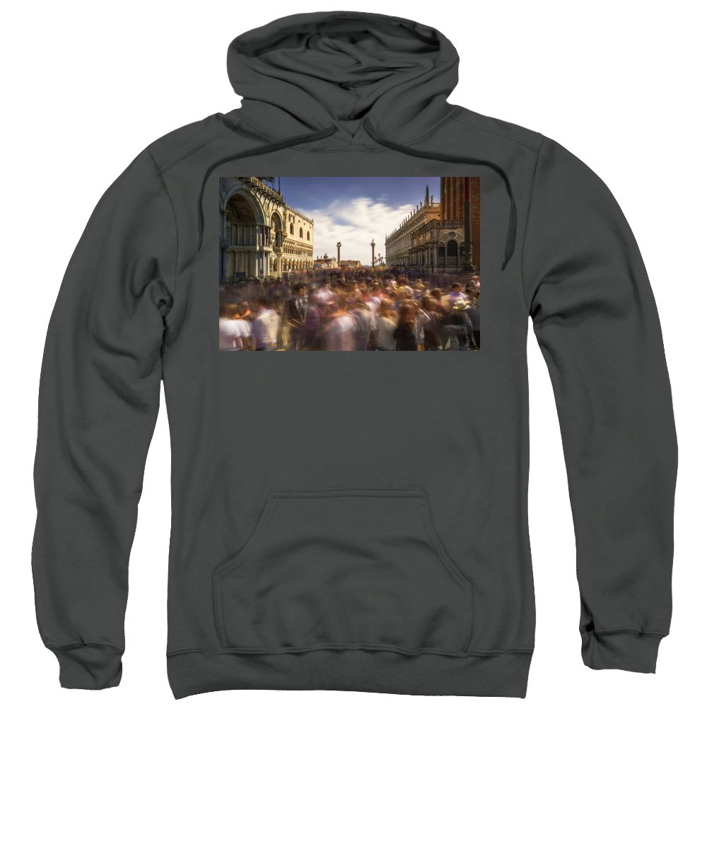 Crowd Sweatshirt featuring the photograph Crowded On St. Mark's Square by Ludwig Riml