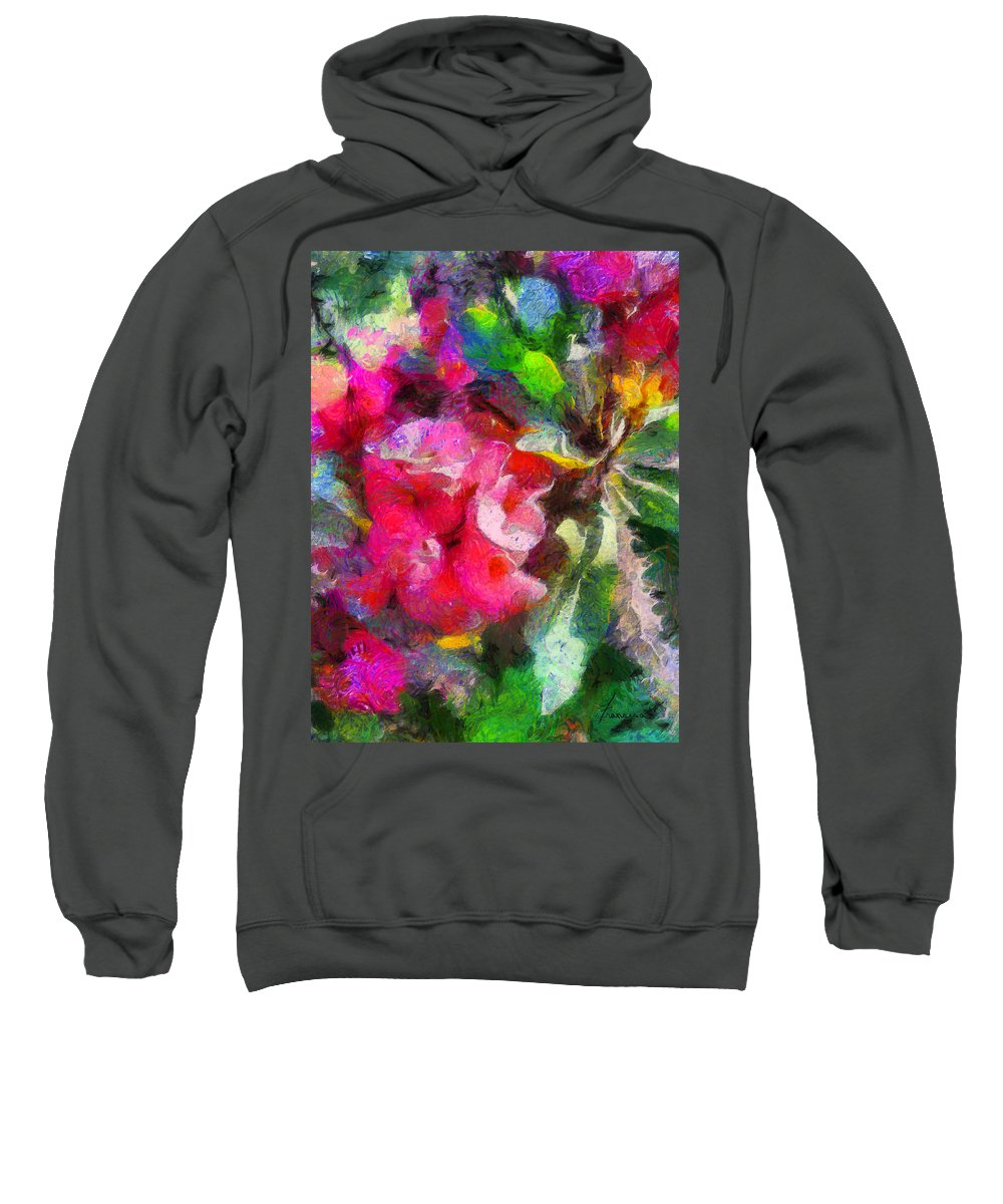 Flower Blooms Blossom Painting Thorns Plant Flora Botanical Botany Growing Tropical Tropic Sweatshirt featuring the digital art Crown Of Thorns by Francesa Miller