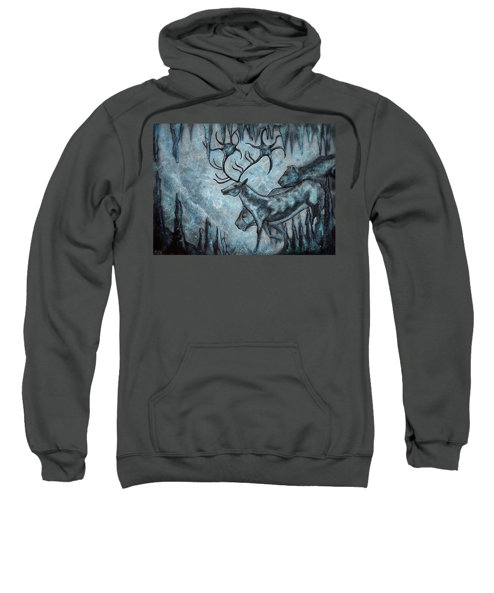 Caves Sweatshirt featuring the mixed media Crystal Cavern Procession by Philip Harvey