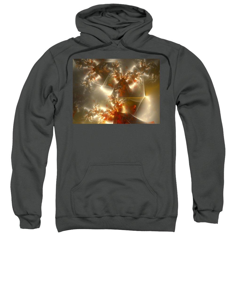 Fractal Sweatshirt featuring the digital art Crystals Of Gold by Amorina Ashton