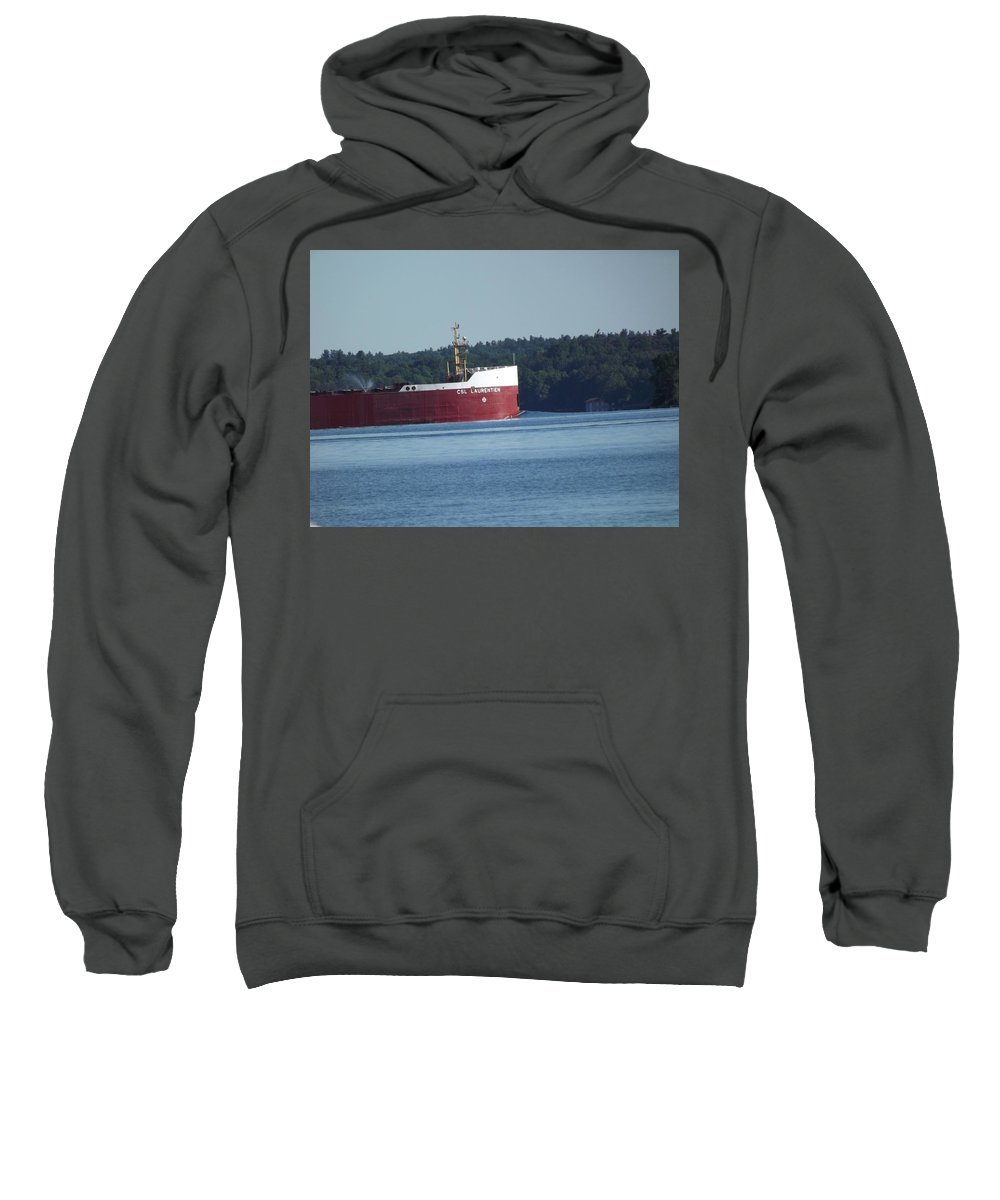 Freighter Sweatshirt featuring the photograph C.s.l. Laurentien by Joseph F Safin