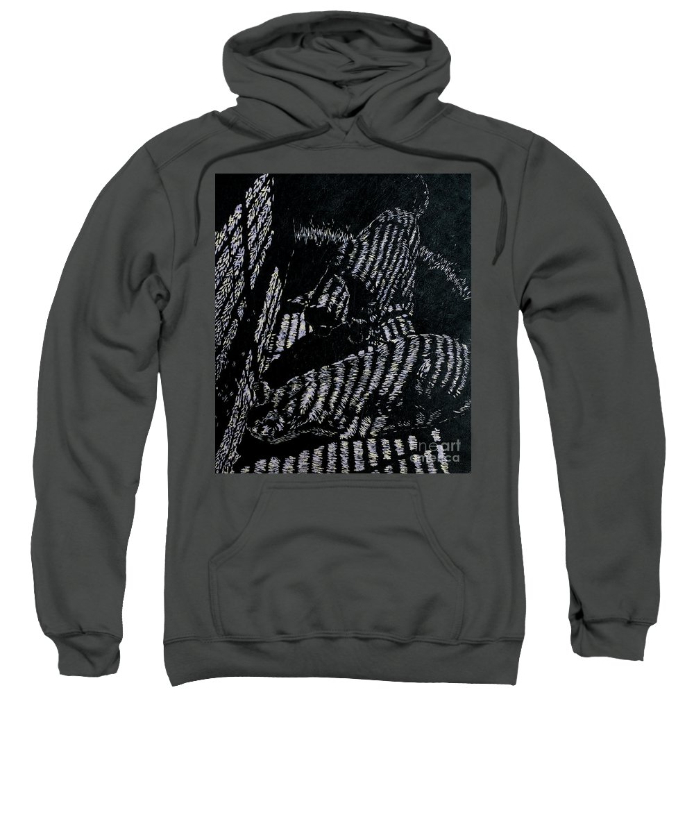 Woodcut Sweatshirt featuring the mixed media Curious Cats by Jackie MacNair