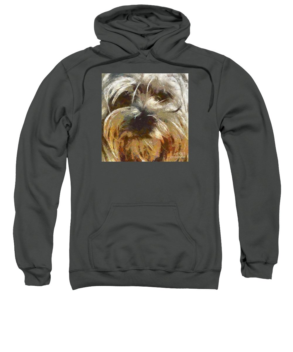 Dog Sweatshirt featuring the painting Curly by Dragica Micki Fortuna