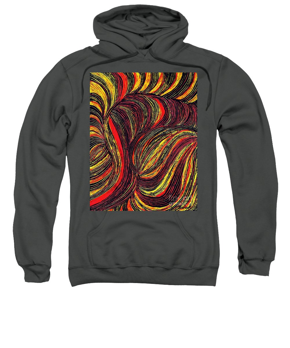 Curve Sweatshirt featuring the drawing Curved Lines 3 by Sarah Loft