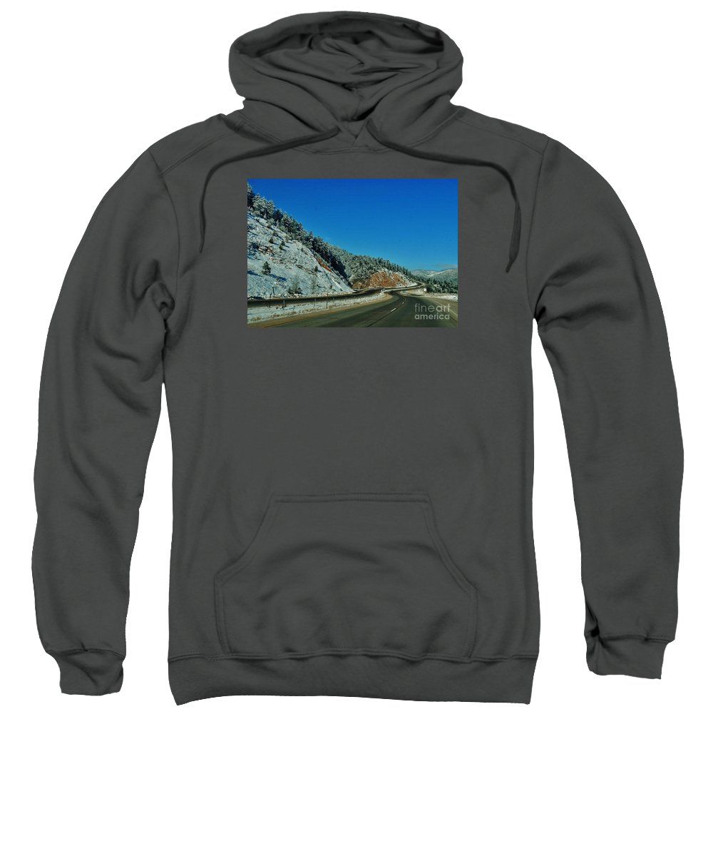Winter Sweatshirt featuring the photograph Curves Ahead by CL Redding