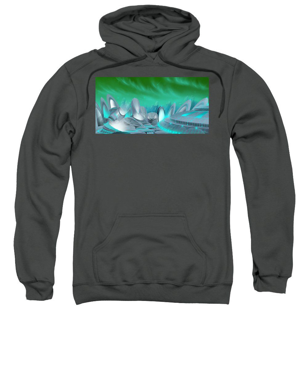 Science Fiction City Sweatshirt featuring the painting Cyan City by James Christopher Hill