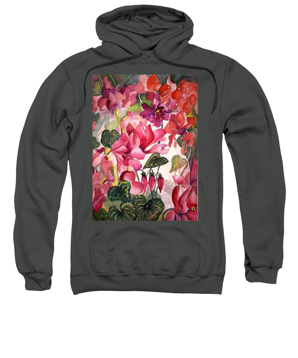 Cyclamen Sweatshirt featuring the painting Cyclamen by Mindy Newman