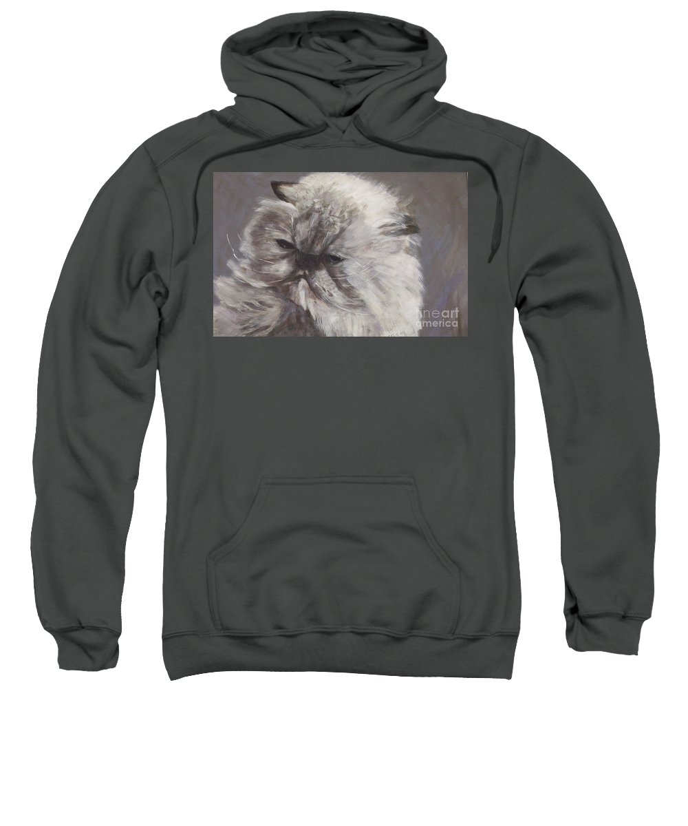 Himalayan Cat Sweatshirt featuring the painting Cynthia by Elizabeth Ellis