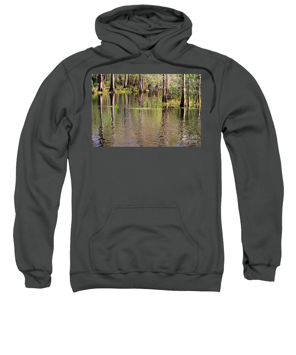 Cypress Trees Sweatshirt featuring the photograph Cypresses Reflection by Carol Groenen