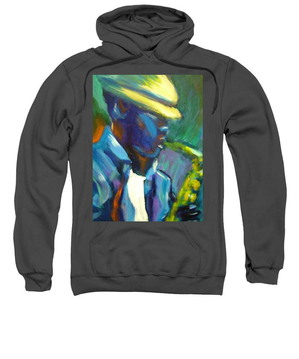 Sax Player Sweatshirt featuring the painting D by Jan Gilmore