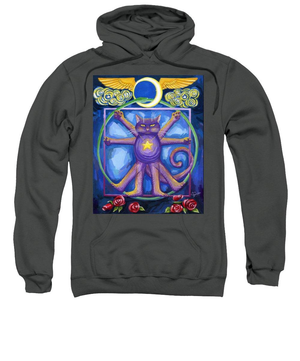Deecken Sweatshirt featuring the painting Da Vinci Cat by John Deecken