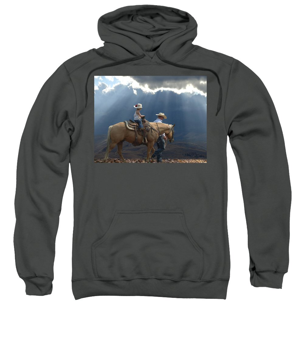 Little Cowgirl Sweatshirt featuring the photograph Daddy's Girl by Elizabeth Waitinas