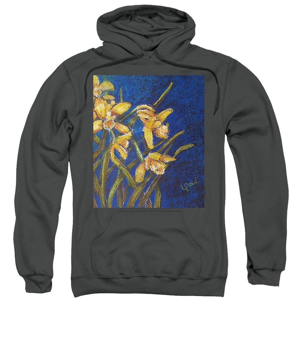 Daffodils Sweatshirt featuring the painting Daffodils by Laurie Paci