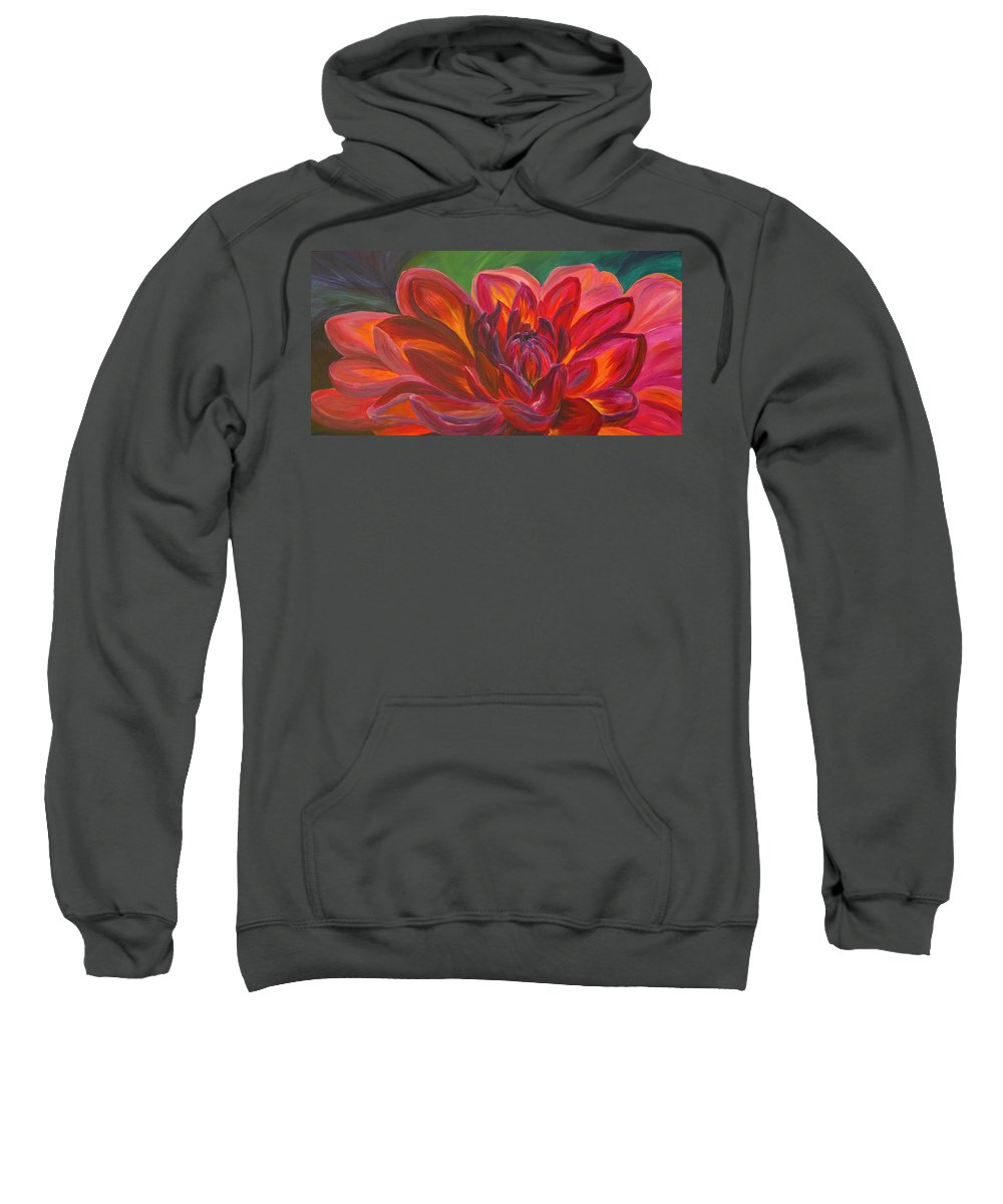 Floral Sweatshirt featuring the painting Dahlia by Donna Drake