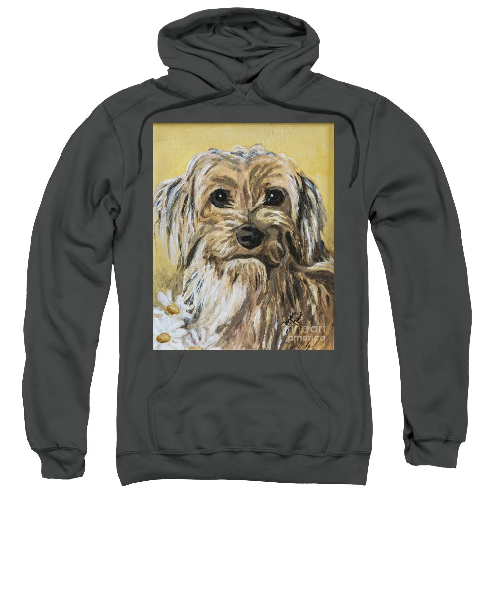 Dog Sweatshirt featuring the painting Daisy by Jackie MacNair