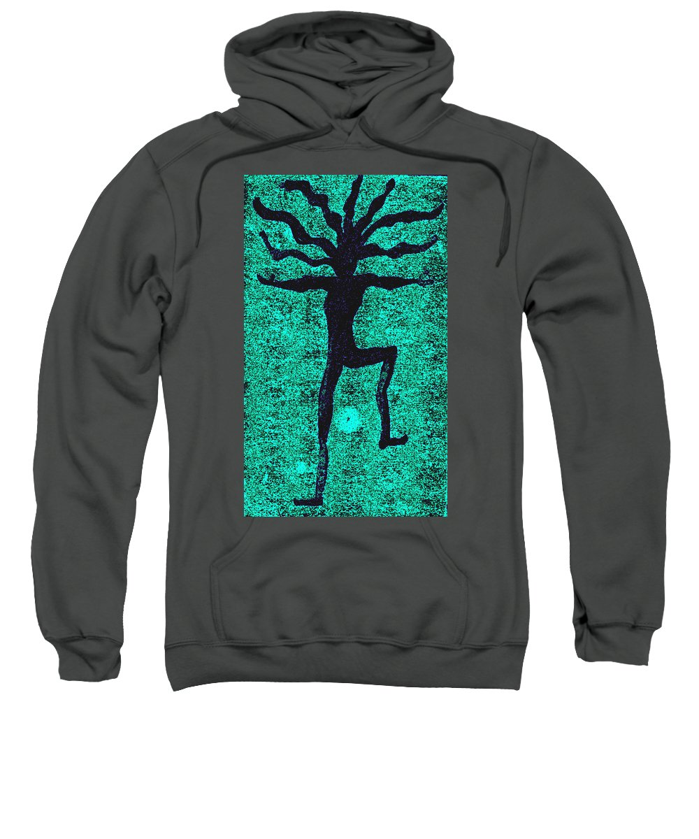 Dance Sweatshirt featuring the painting Dancing At The Creation Of The Green Earth by Wayne Potrafka