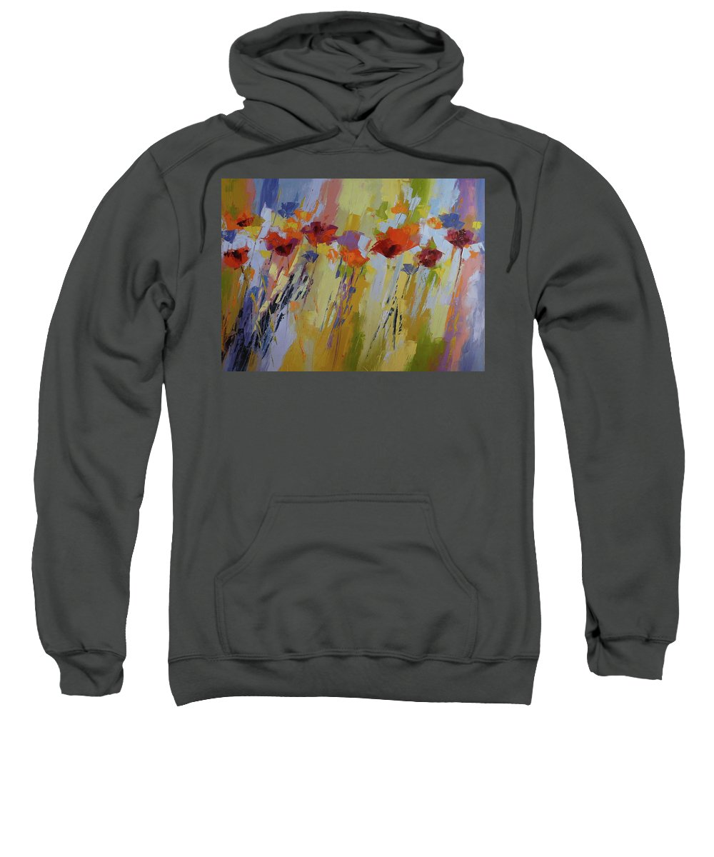 Poppies Sweatshirt featuring the painting Dancing Ladies by Yvonne Ankerman
