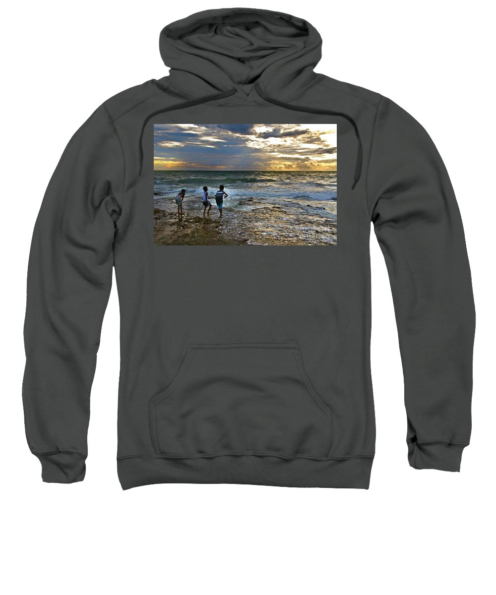 Beach Sweatshirt featuring the photograph Dancing On The Beach by Charuhas Images