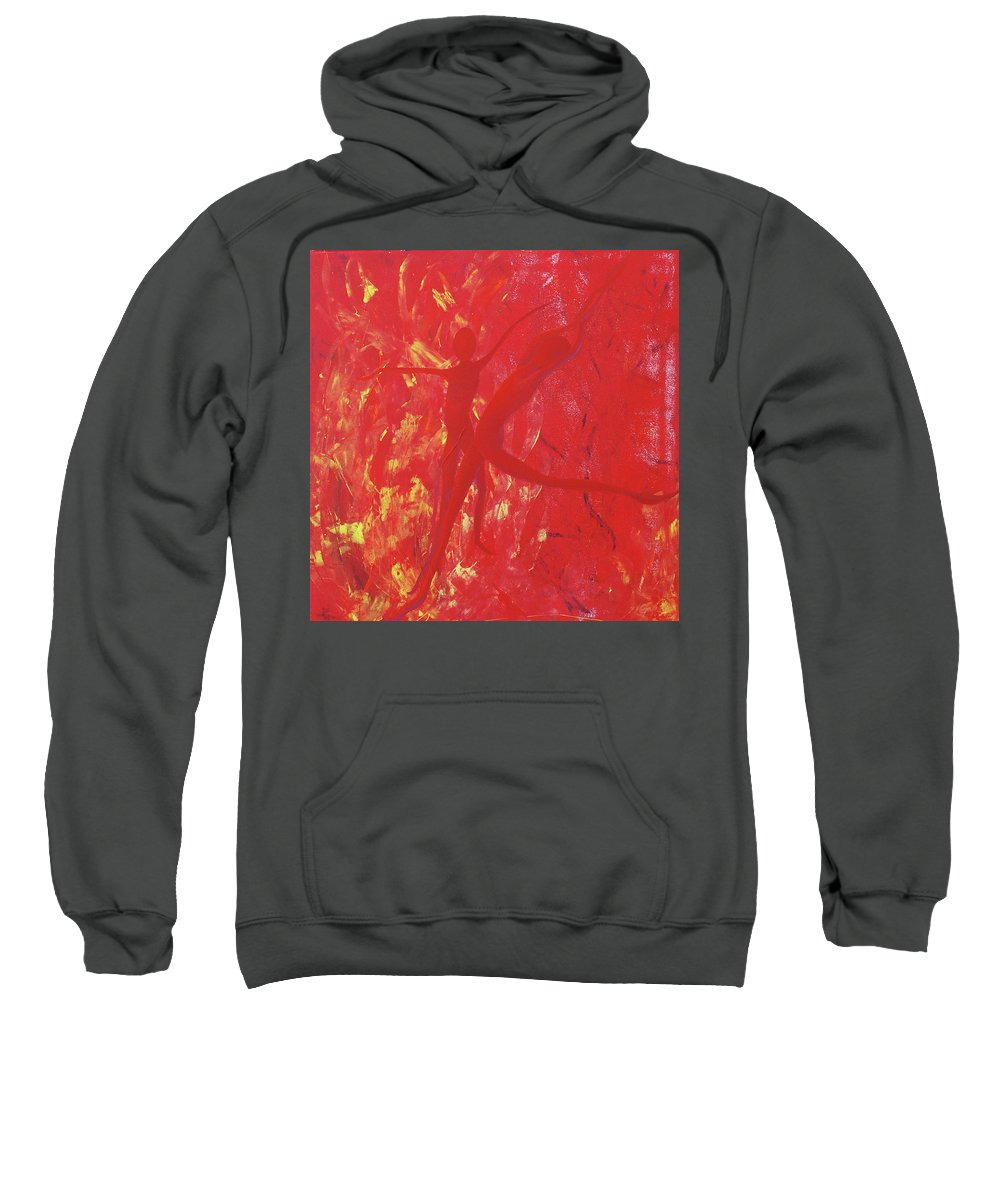 Dancing With Fire Sweatshirt featuring the painting Dancing With Fire Rainbow Soul Collection by Catt Kyriacou