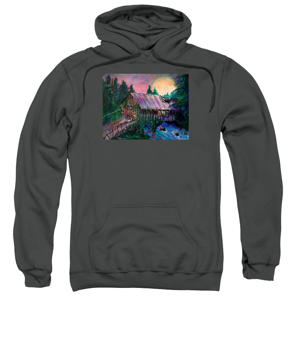 Dangerous Bridge Sweatshirt featuring the painting Dangerous Bridge by Seth Weaver