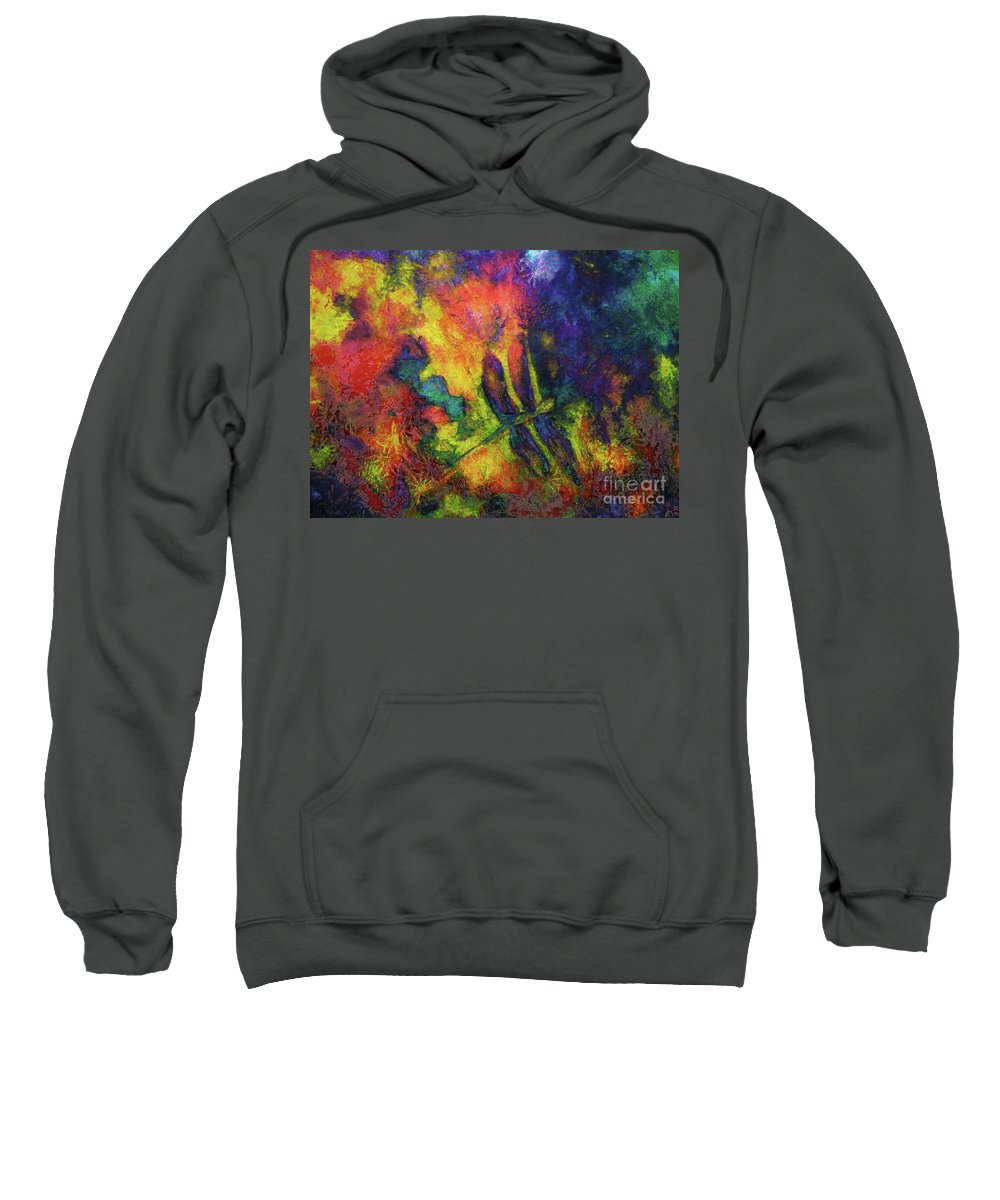 Dragonfly Sweatshirt featuring the painting Darling Darker Dragonfly by Claire Bull