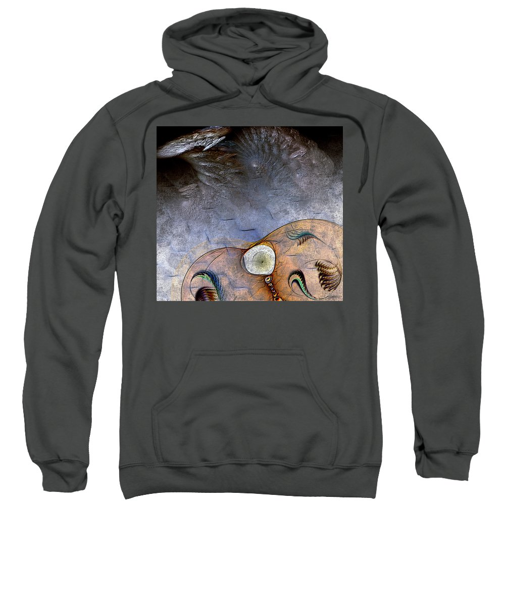 Abstract Sweatshirt featuring the digital art Darwin's Dilemma by Casey Kotas